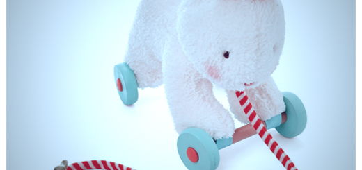 rabbit toy being pulled along on a string