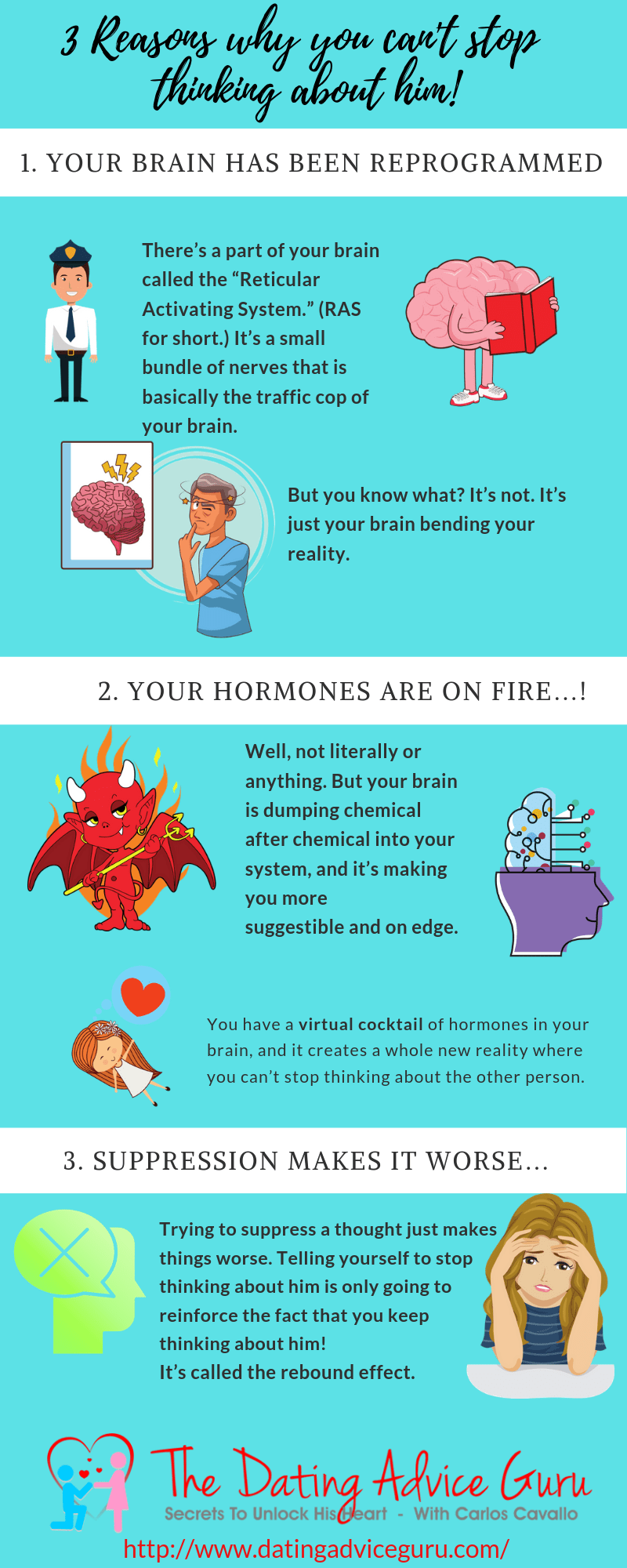 Why you can't stop thinking about him - infographic